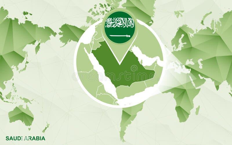 Zentrale Weltkarte Amerikas mit vergrößerter Saudi-Arabien Karte lizenzfreie abbildung
