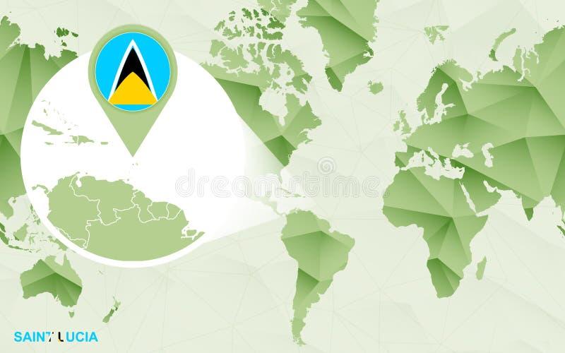 Zentrale Weltkarte Amerikas mit vergrößerter St. Lucia-Karte lizenzfreie abbildung