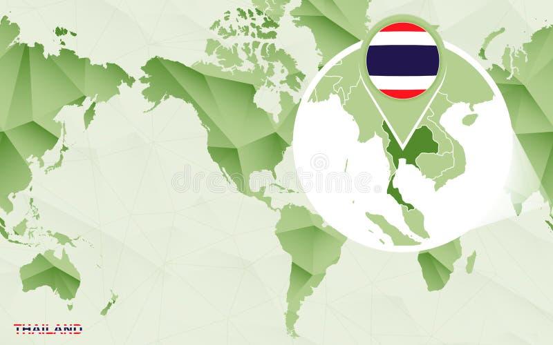 Zentrale Weltkarte Amerikas mit vergrößerter Thailand-Karte vektor abbildung