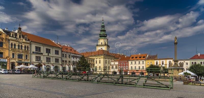 Zentraler Platz der Stadt von Kromeriz stockfoto