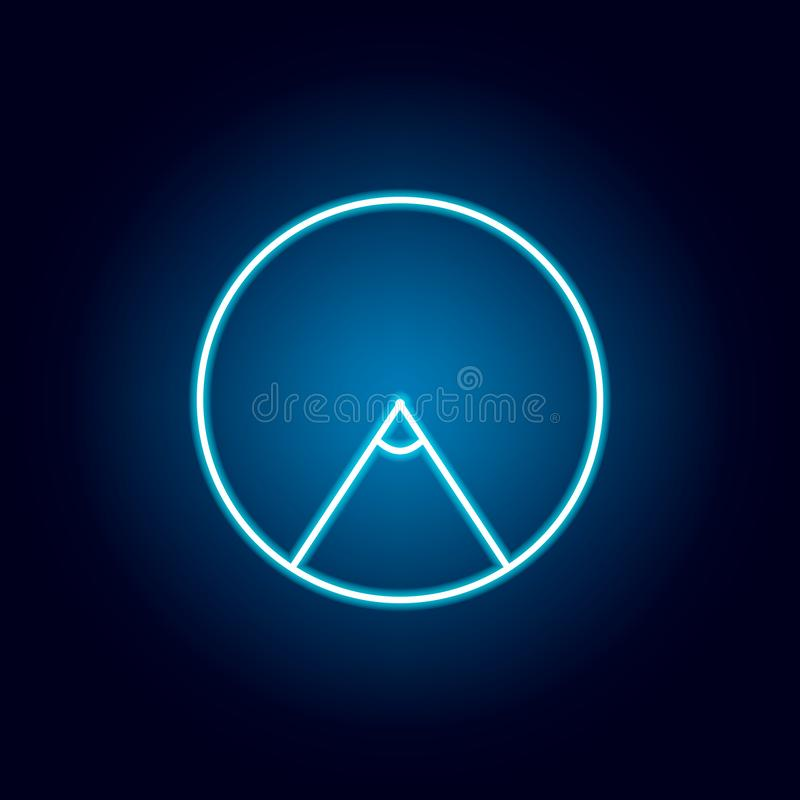 zentraler Winkel einer Kreisikone in der Neonart Geometrische Zahl Element f?r bewegliche Konzept und Netz apps D?nne Linie Ikone vektor abbildung