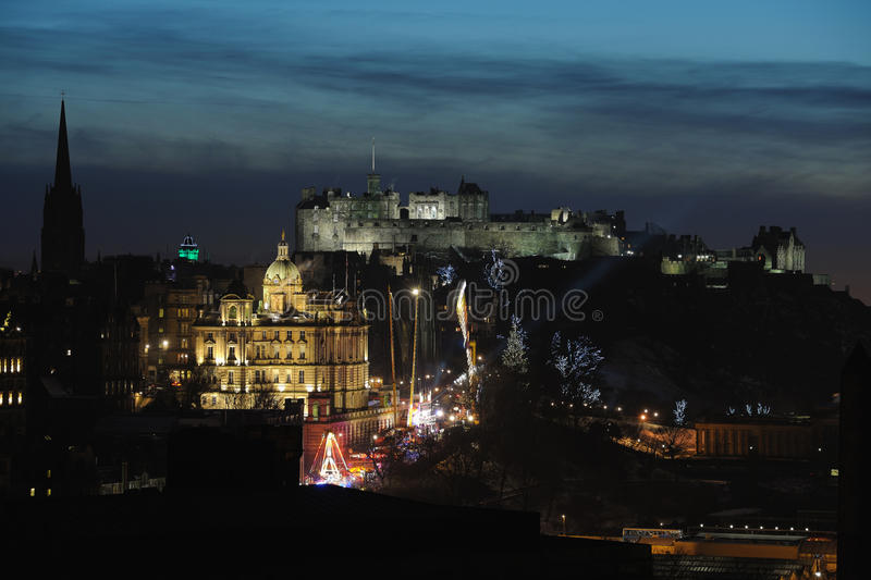 Zentrales Edinburgh, Schottland, Großbritannien, an der Dämmerung stockfotografie