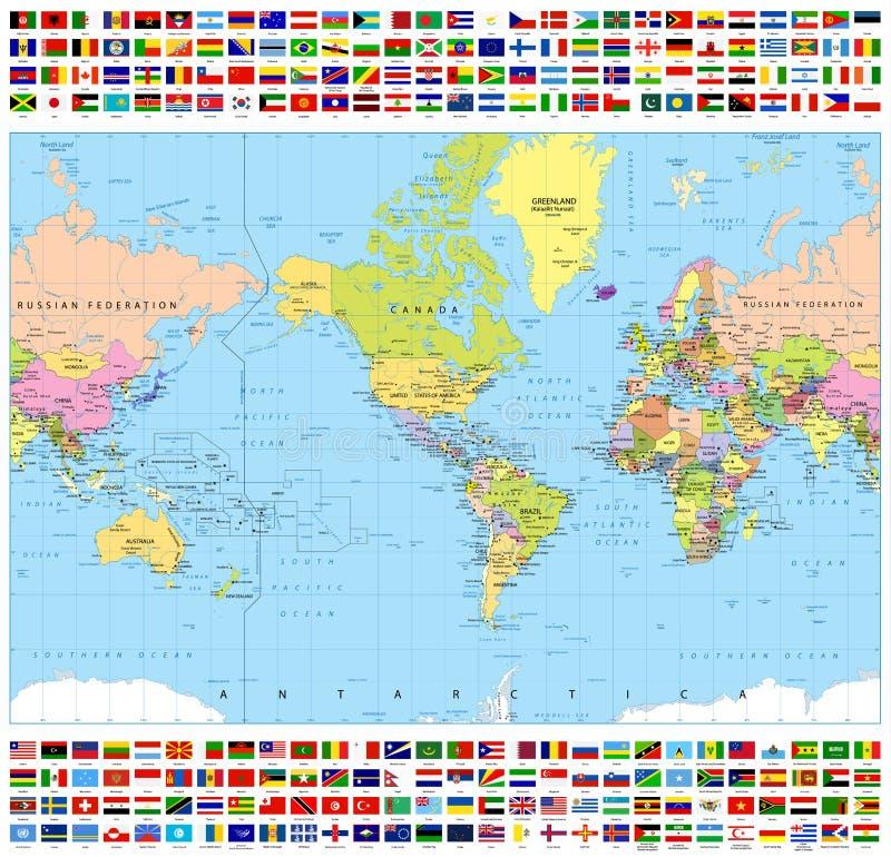 Zentrierte politische Weltkarte Amerikas und alle Weltflaggen stock abbildung