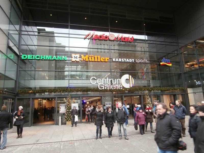 Zentrum Galerie-Einkaufszentrum in Dresden, Deutschland (2013-12-07) stockbild