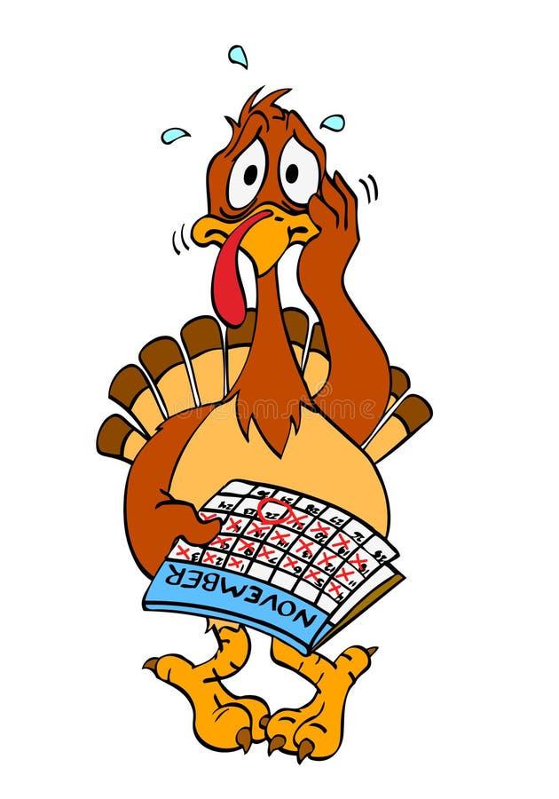Zenuwachtige Dankzegging Turkije vector illustratie