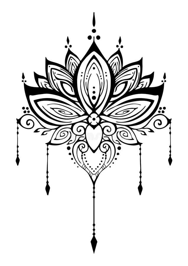 Zenverwicklungsmotiv-Tätowierungsvektor des Lotus-Blumenhennastrauches dekorativer ethnischer vektor abbildung