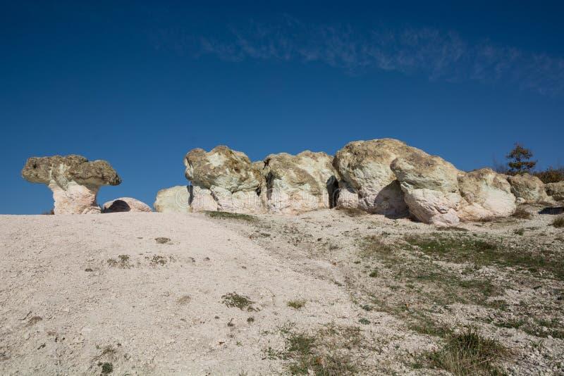 Zeolite natural stone phenomenon. The Stone Mushrooms. Zeolite rock phenomenon -The Stone Mushrooms is located in Rhodope Mountains near Beli Plast village stock photos