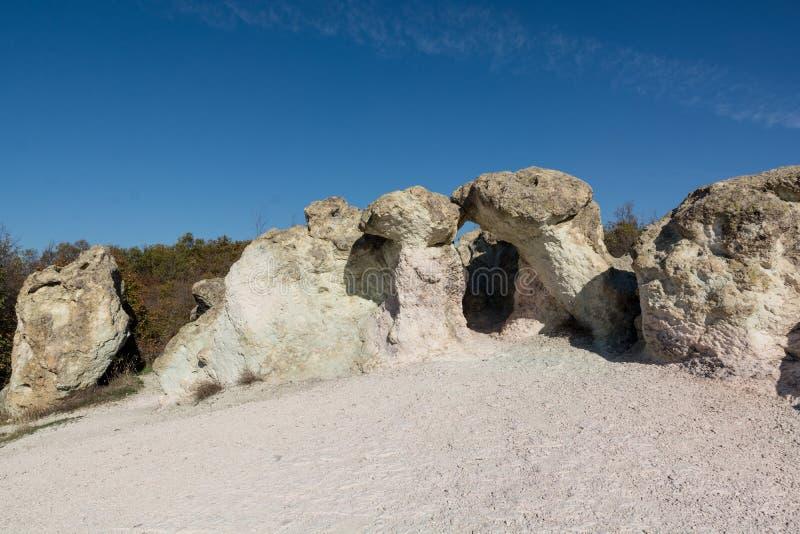 Zeolite natural stone phenomenon . The stone zeolite arche. Zeolite rock phenomenon -The Stone Mushrooms arche is located in Rhodope Mountains near Beli Plast stock photo