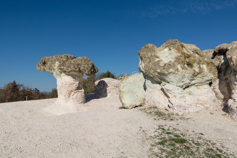 Zeolite natural stone phenomenon. The Stone Mushrooms. Zeolite rock phenomenon -The Stone Mushrooms is located in Rhodope Mountains near Beli Plast village stock image