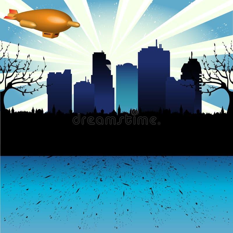 Zepelim acima da cidade ilustração stock