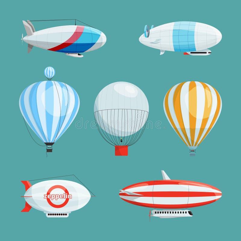 Zepelines, dirigibles grandes y globos con la cabina Ejemplos del vector fijados en estilo de la historieta stock de ilustración