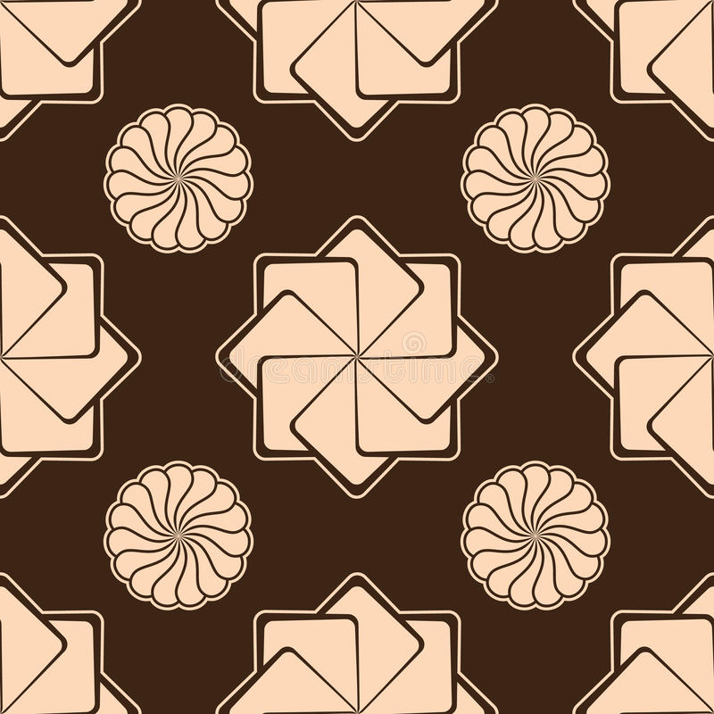 Zephyr и печенья над шоколадом безшовным иллюстрация штока