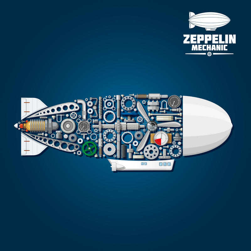 Zeppelin Airship Symbol With Mechanical Details Stock Vector