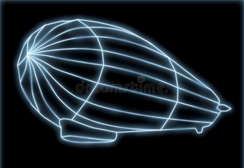 Zeppelin al neon royalty illustrazione gratis
