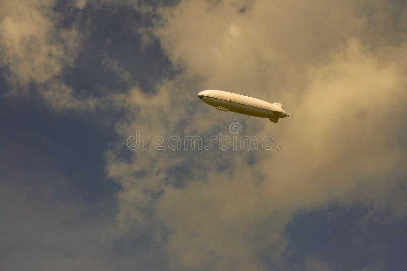A Zeppelin in a cloudy sky stock photos