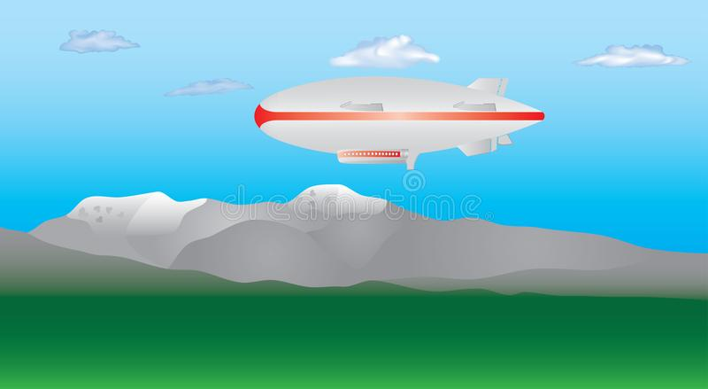 Download Zeppelin in de hemel vector illustratie. Illustratie bestaande uit luchtschip - 107705149