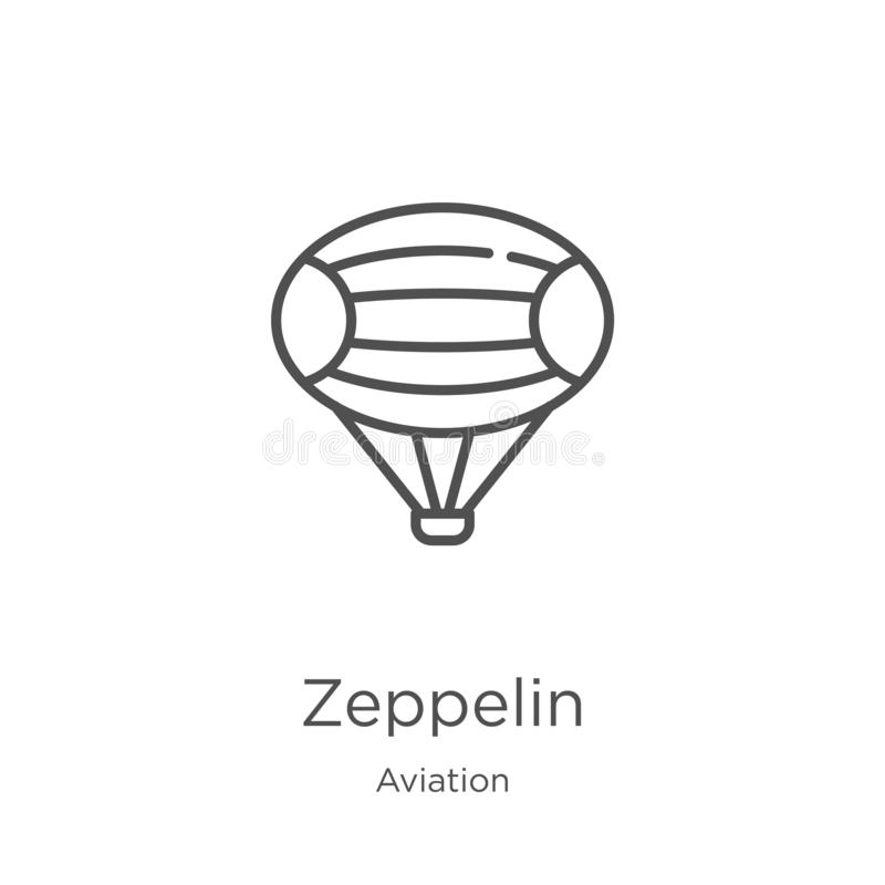 Zeppelin icon vector from aviation collection. Thin line zeppelin outline icon vector illustration. Outline, thin line zeppelin. Zeppelin icon. Element of vector illustration
