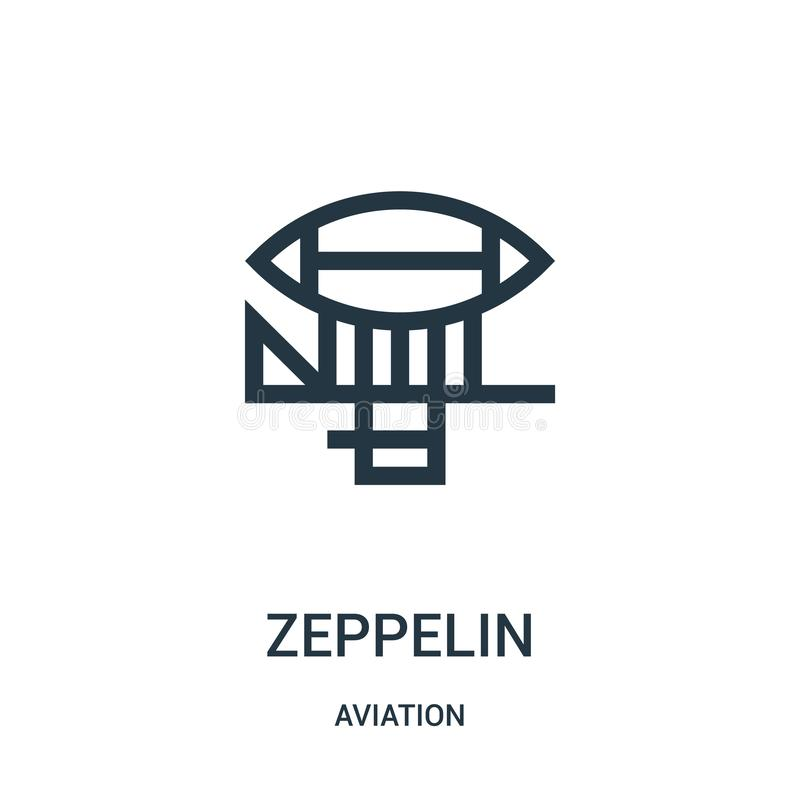 Zeppelin icon vector from aviation collection. Thin line zeppelin outline icon vector illustration. Linear symbol for use on web. And mobile apps, logo, print stock illustration