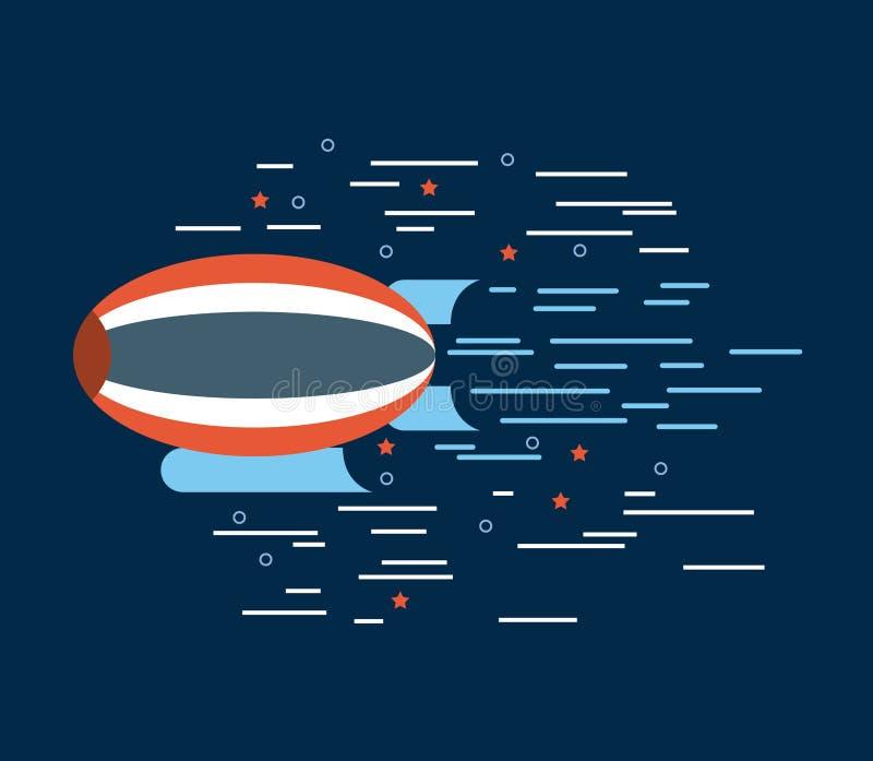 Zeppelin red white blue over navy background image vector illustration
