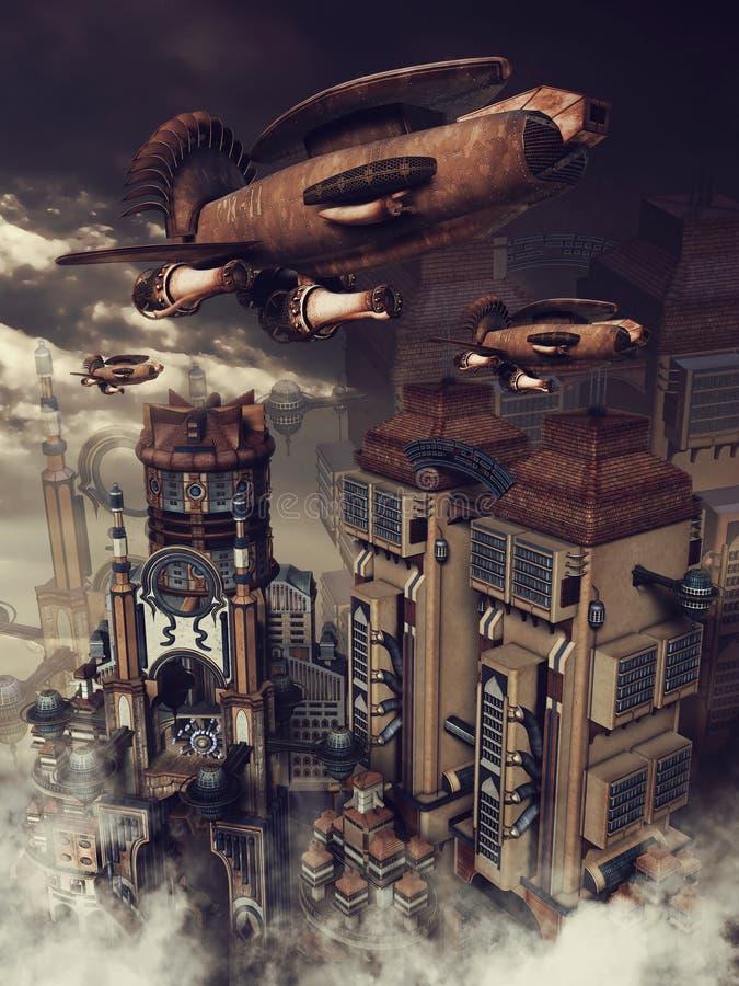 Zeppelin sopra una città royalty illustrazione gratis