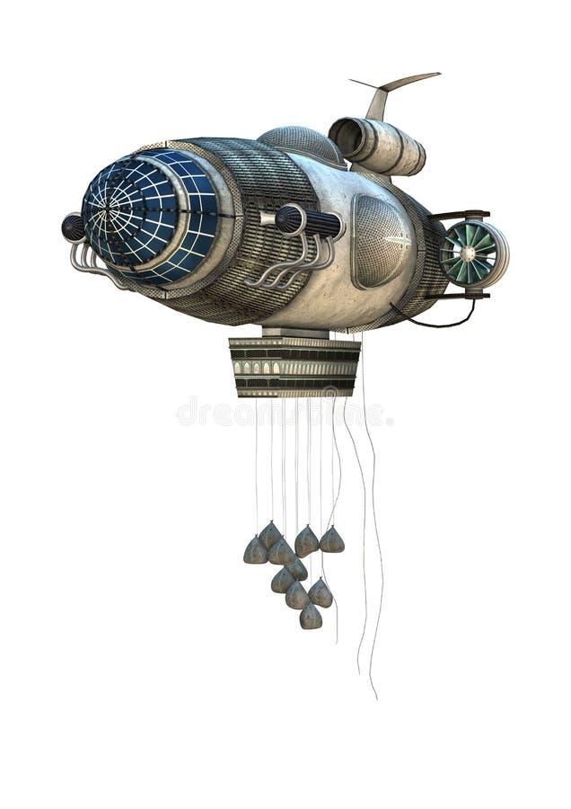 Zeppelin Starship di fantasia illustrazione vettoriale