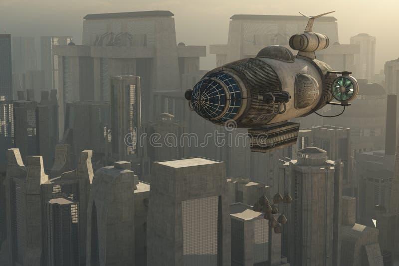 Zeppelin und Stadtbild lizenzfreie abbildung