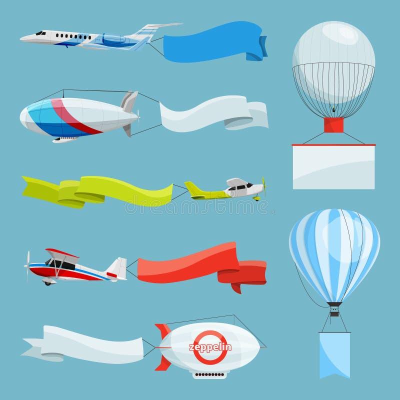 Zeppelinnen en vliegtuigen met lege banners voor de reclame van berichten Vectorillustraties met plaats voor uw tekst stock illustratie