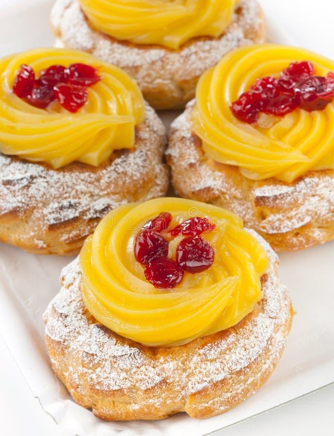 Zeppola di San Giuseppe Traditional italian dessert. Zeppola di San Giuseppe - Traditional italian pastry for St. Joseph's day stock photography