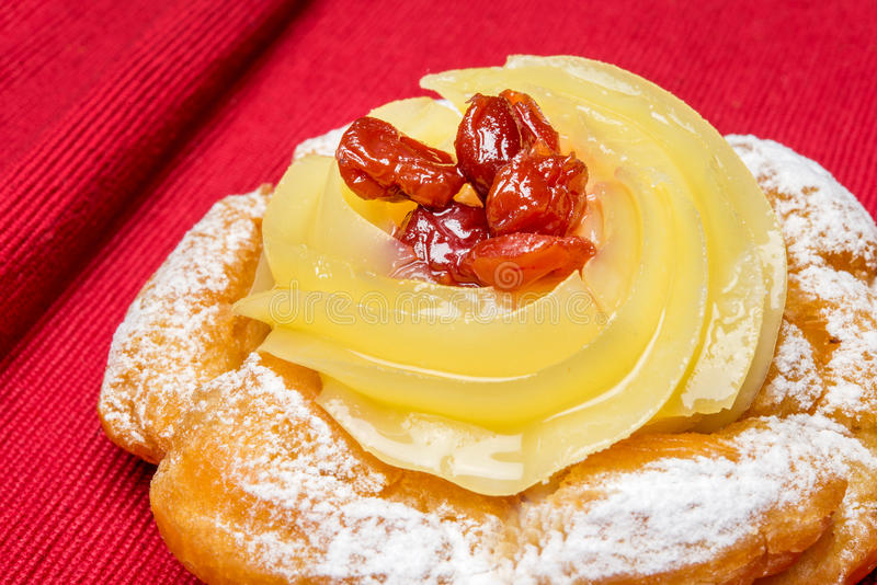 Zeppola di san giuseppe. Typical neapolitan pastry called zeppola di san giuseppe royalty free stock image
