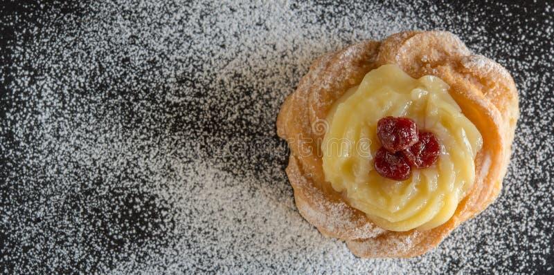 Zeppola di san giuseppe. Typical neapolitan pastry called zeppola di san giuseppe stock images