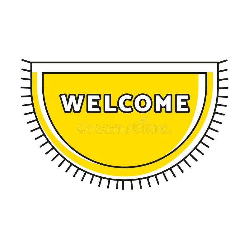 Zerbino giallo con il benvenuto del testo e della frangia for Piano di abbozzo domestico