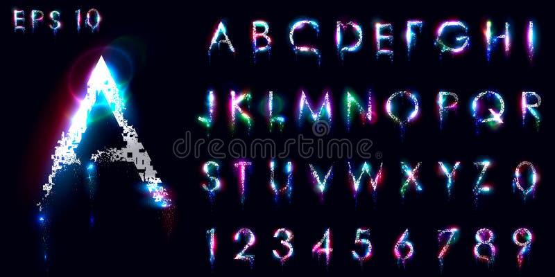 Zerbröckeln und leuchtender Guss, englische Buchstaben und Zahlen stock abbildung
