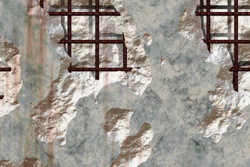 Zerbröckelnder konkreter Rebar vektor abbildung