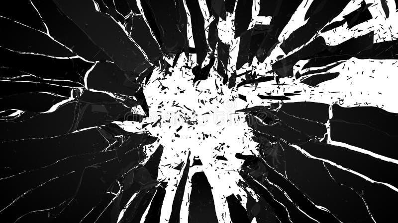 Zerbrochenes Glas: scharfe Stücke auf Weiß vektor abbildung