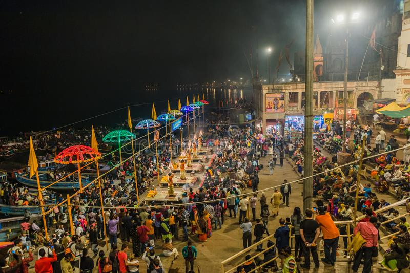zeremonie GANGA SEVA NIDHI Varanasi, Indien lizenzfreies stockfoto