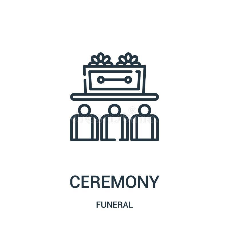 Zeremonieikonenvektor von der Begräbnis- Sammlung Dünne Linie Zeremonieentwurfsikonen-Vektorillustration Lineares Symbol für Gebr lizenzfreie abbildung