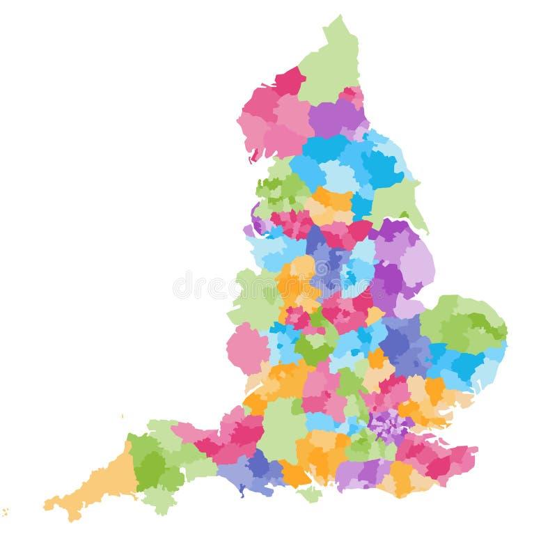 Zeremonielle Grafschaften Englands und ihre Bezirke vector Karte Unterscheidungen jeder Grafschaft zwischen einander durch unters lizenzfreie abbildung