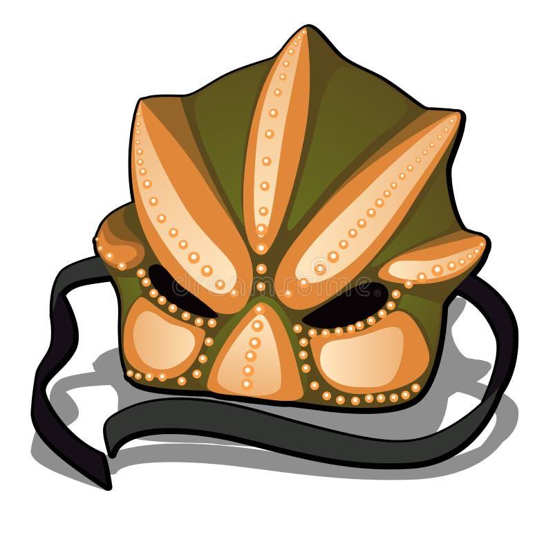 Zeremonielle Maske lokalisiert auf weißem Hintergrund Vektorkarikatur-Nahaufnahmeillustration vektor abbildung
