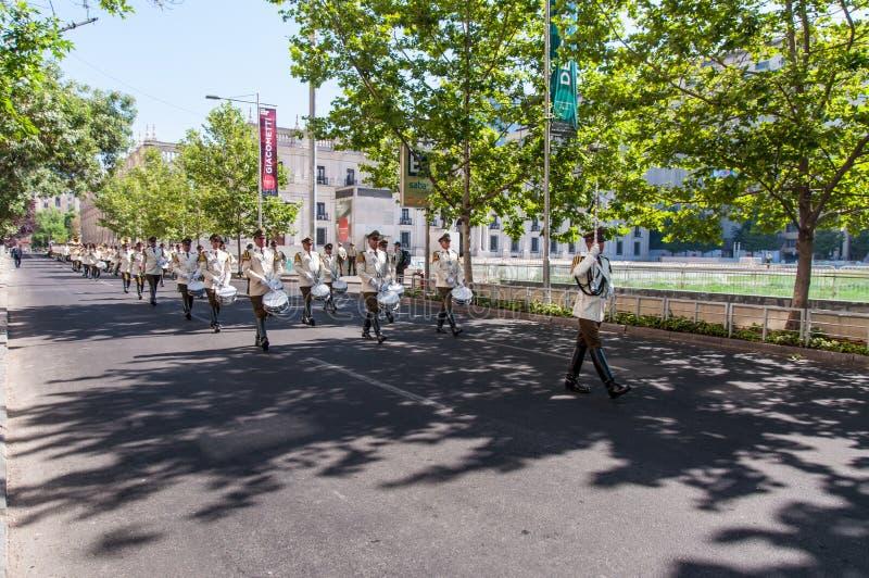 Zeremonielles Ändern des Schutzes bei Palacio de la Moneda stockfoto