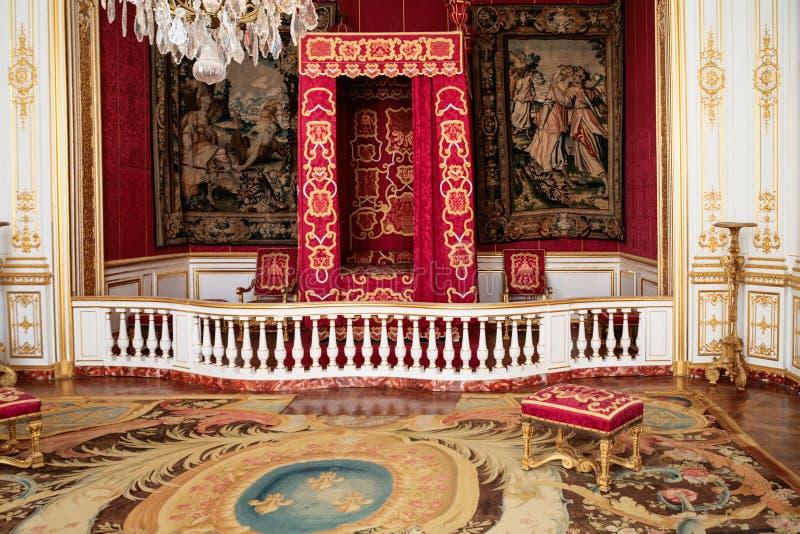 Zeremonielles Schlafzimmer im Schloss Chateau de Chambord stockbilder