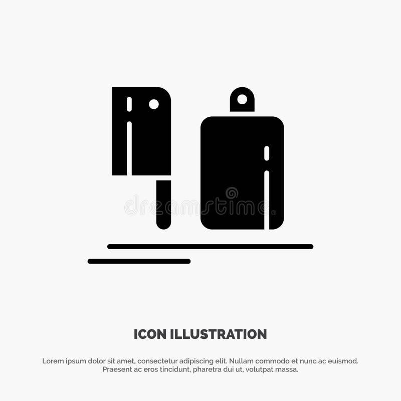 Zerhacker, Küche, Chef, Vorbereitung, Nahrungfeste schwarze Glyph-Ikone lizenzfreie abbildung