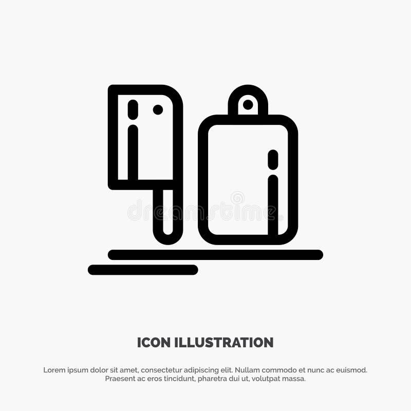 Zerhacker, Küche, Chef, Vorbereitung, Nahrungsmittelvektor-Linie Ikone stock abbildung