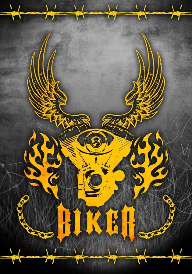 Zerhacker motorcicle themenorientiertes Plakat - Kartenschablone lizenzfreie abbildung
