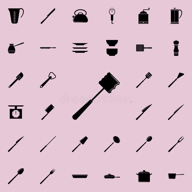 Zerhackerikone Ausführlicher Satz der Küche bearbeitet Ikonen Erstklassiges Qualitätsgrafikdesignzeichen Eine der Sammlungsikonen vektor abbildung