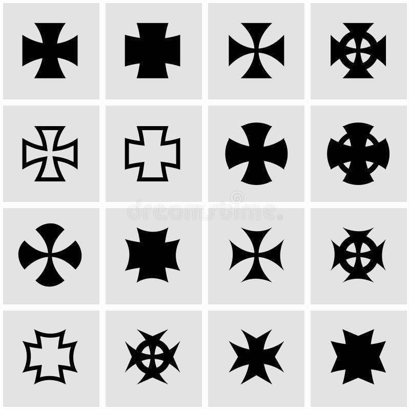 Zerhackerkreuz-Ikonensatz des Vektors schwarzer vektor abbildung
