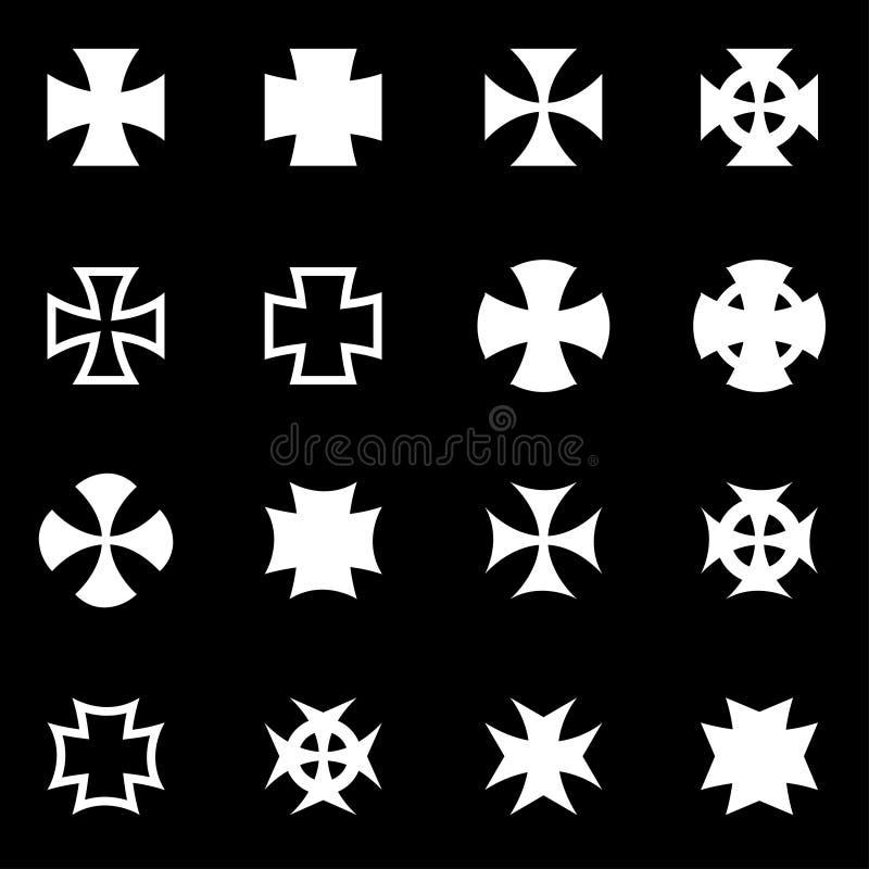 Zerhackerkreuz-Ikonensatz des Vektors weißer lizenzfreie abbildung