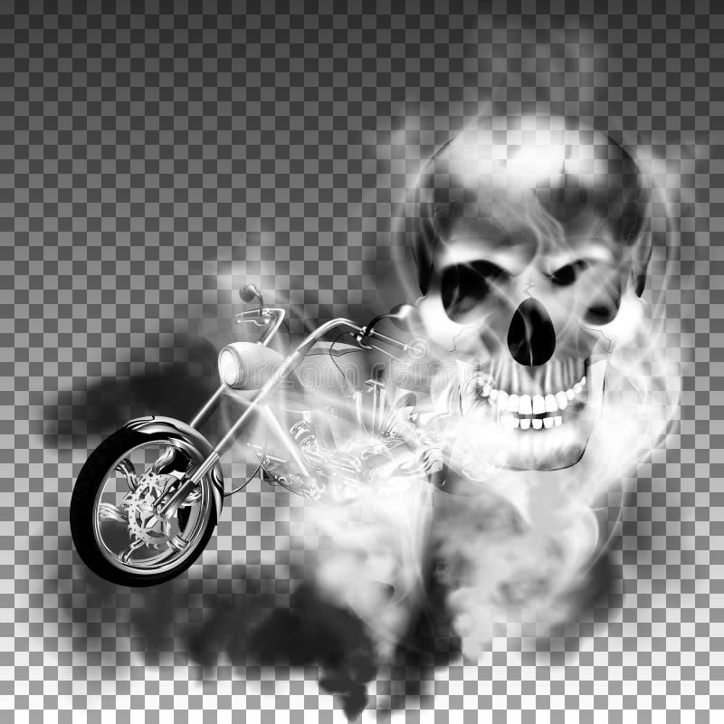 Zerhackermotorrad mit dem Schädel im Rauche vektor abbildung