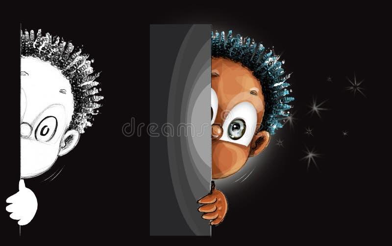 Zerknięcie postaci z kreskówki ślicznego działającego projekt ilustracji