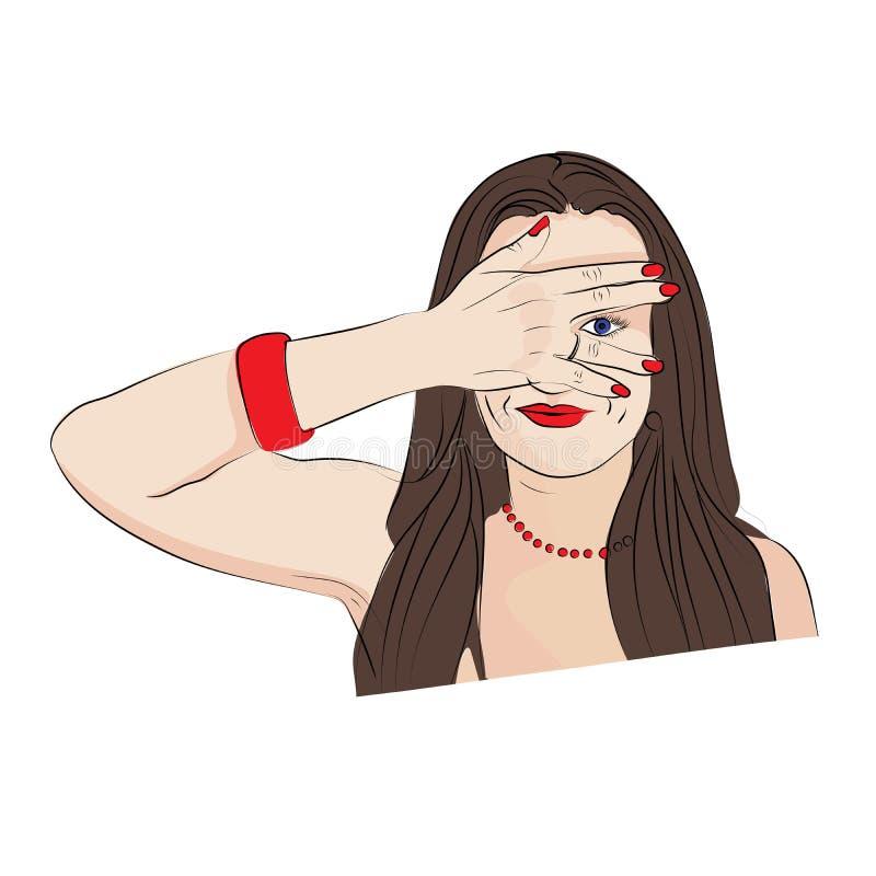 zerknięcie Dziewczyna zakrywa jej twarz z ona ręki ilustracji