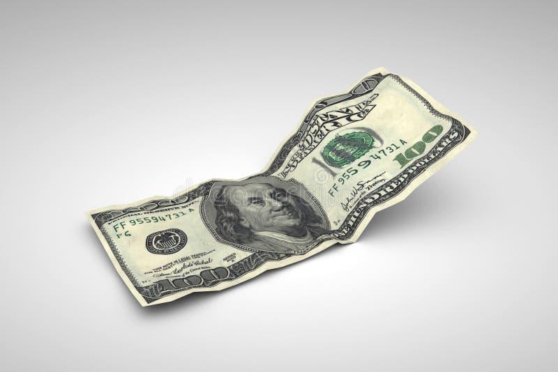 Zerknittert hundert Dollars lizenzfreie abbildung